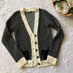 BDG Knit Black Print Cardigan